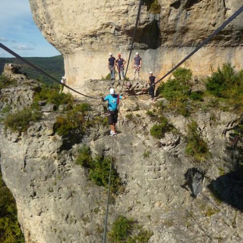 Via-ferrata Du Liaucous Près De Millau Dans Les Gorges Du Tarn En Aveyron